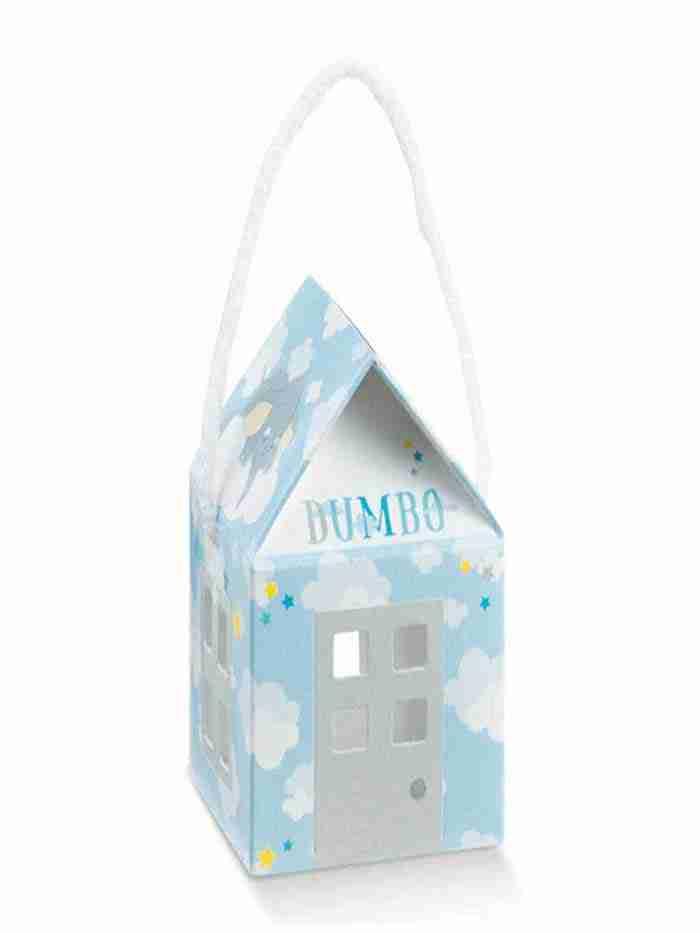 Portaconfetti Casetta Dumbo Azzurra