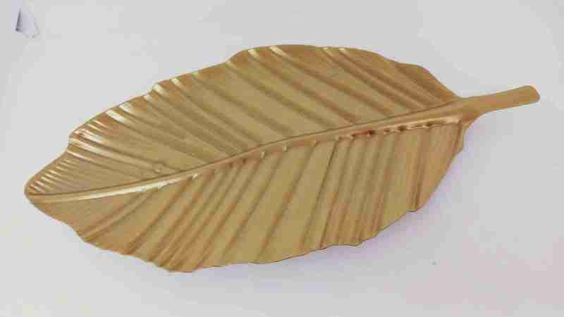 Centrotavola foglia oro metallo