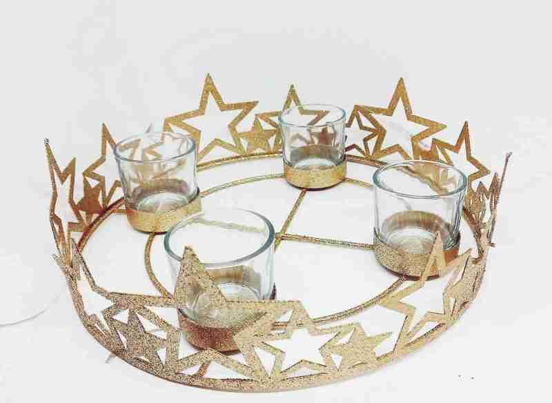 Corona D'avvento metallo oro